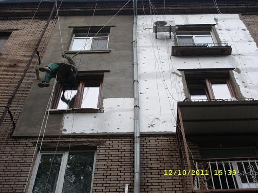 Rope access, I'm in industrial rope access trade Surface of the external wall edged by a foam plastic and армироанной dried out to the complete drying out.